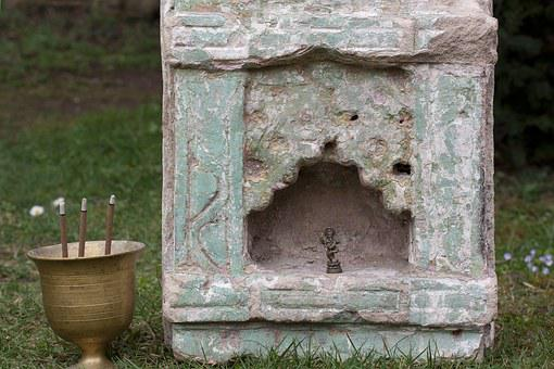 Altar, Temple Stone, Niche, India, Cup, Brass, Censer