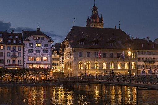 Lucerne, Town Hall, Reuss, Reussteg, Water, Bridge