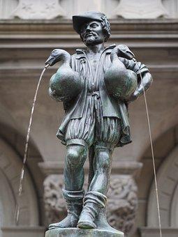 Gänsemännchenbrunnen, Lucerne, Fountain, Bronze