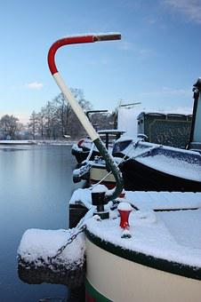 Trent Mersey Canal, Canal Boat, Winter, Water, Marina