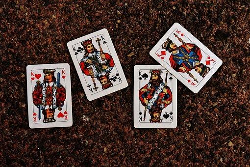Playing Cards, King, Four, Card Game, Gambling, Heart