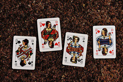 Playing Cards, Lady, Four, Card Game, Gambling, Heart
