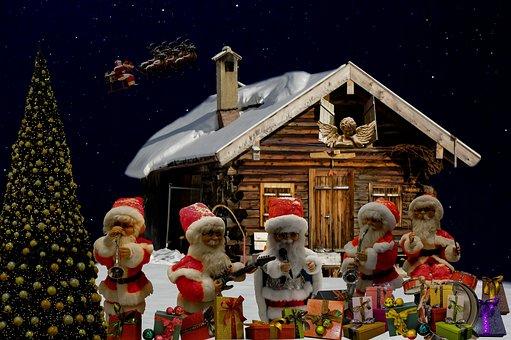 Christmas, Christmas Greeting, Santa Clauses