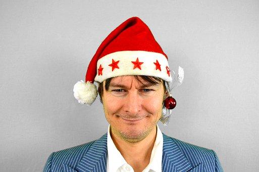 Santa, Santa Claus, Earring, Star, Christmas, Nicholas