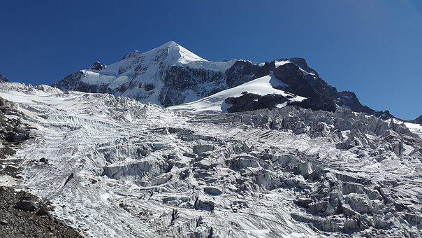Glacier, Crevasses, Snow Dome, High Mountains, Bernina
