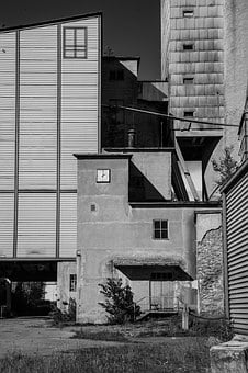 Empty Factory, Black And White, Outdoors, Industry