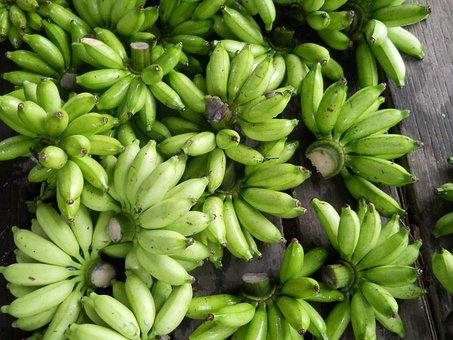 Bananas, Fruits, Green, Unripe, Bunch