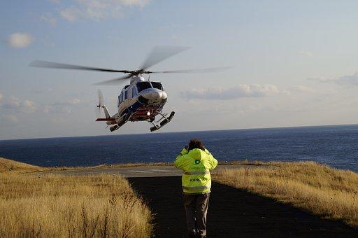 Helicopter, Helipad, Färöer, Landing, Tarmac