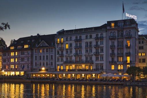Lucerne, Reuss, Hotel Balance, Switzerland, River