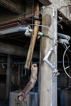 Broken Pipe, Old Factory, Metal, Rust, Industry, Steel