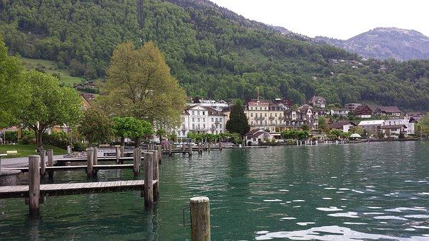 Lake Lucerne Region, Weggis, Lake, Water, Nature, Bank