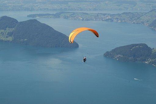 Paragliding, Sport, Lake, Landscape, Fly