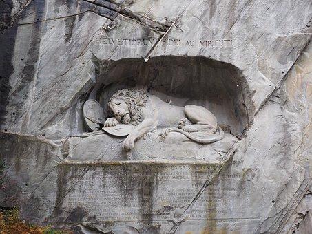 Lion, Monument, Lion Monument, Dying, Relief