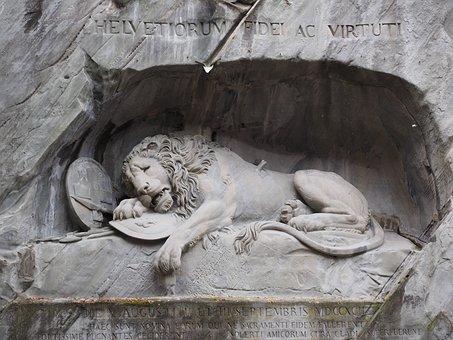 Monument, Lion Monument, Lion, Dying, Relief