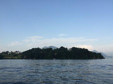 Peninsula, Lake, Water, Sky, Lake Lucerne Region