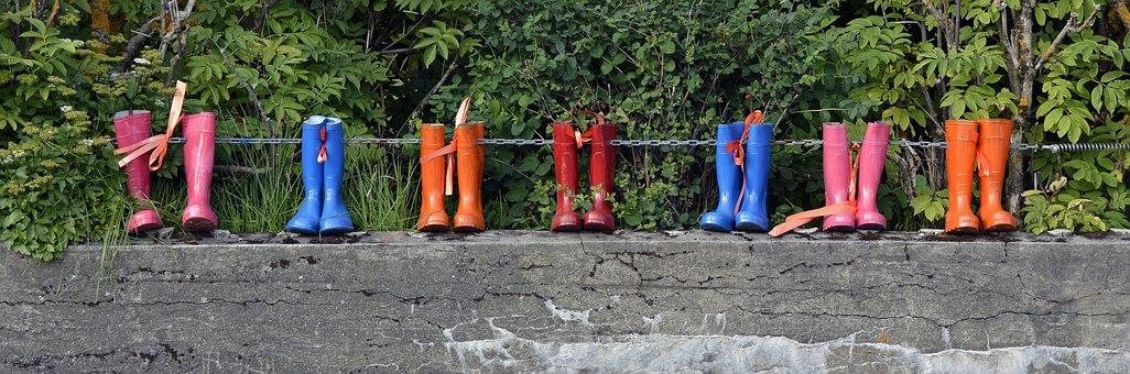 Rubber Boots, Shoes, Boots, Rain, Pink, Blue, Orange