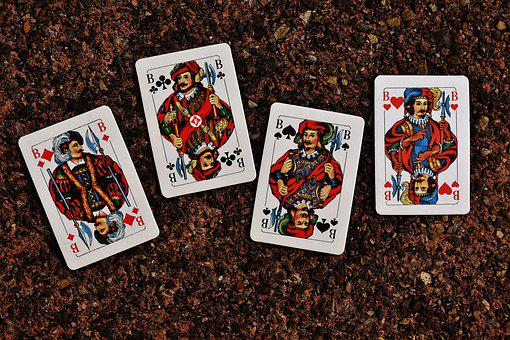 Playing Cards, Jack, Four, Card Game, Gambling, Heart