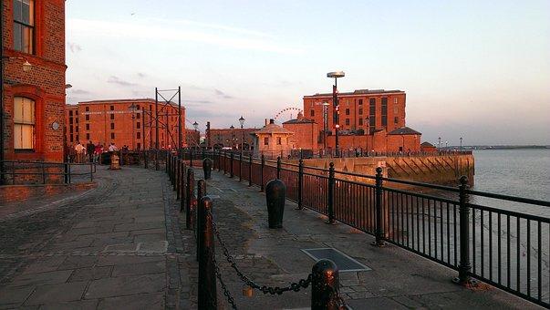 Port, Alber Dock, Liverpool, Mersey, Sunset, Jetty