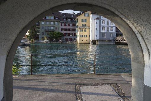 Lucerne, Reuss, Switzerland, Water, River, Reussteg