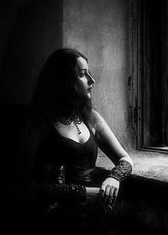 Portrait, Girl, Window, Riddle, Black And White