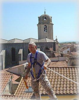 Roof Repair, Tiles, Arles, France, Man, Work, Craftsman
