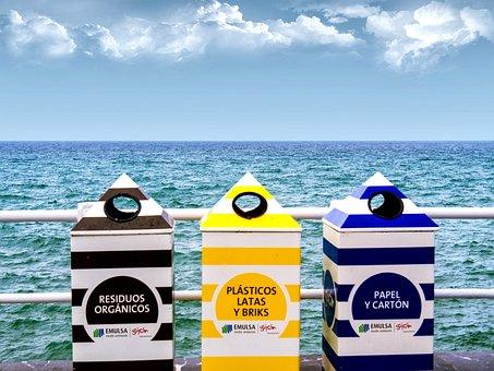 Recycling, Beach, Sea, Sky, Horizon, Clouds, Shore