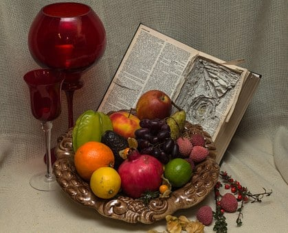 Still Life, Fruit Bowl, Fruits, Chalices, Old Book