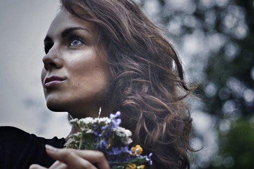 Girl, Summer, Bouquet, Greens, Portrait, Hair, Model
