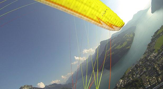 Paragliding, Fly, Summer, Mountains, Freedom, Fountain