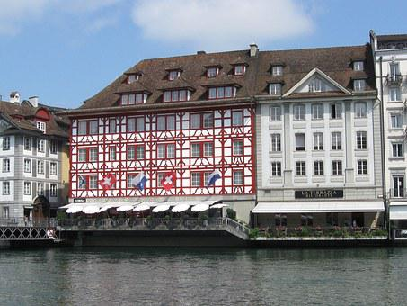 Reuss, River, Lucerne, Switzerland, Swiss, Bridge