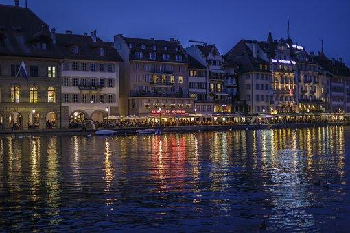 Lucerne, Reuss, Town Hall, Switzerland, River, Reussteg