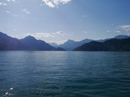 Mountains, Water, Lake, Lake Lucerne Region