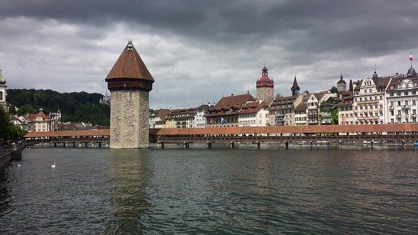 Lucerne, Switzerland, Water, Chapel Bridge, Water Tower