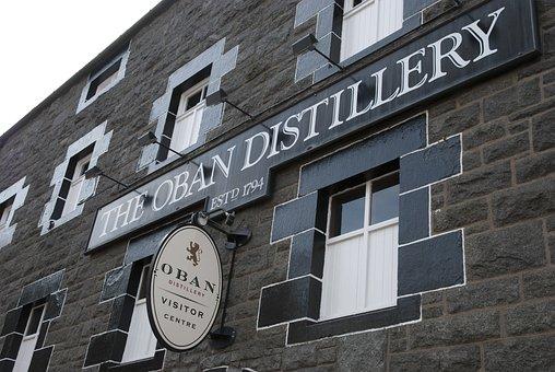 Whiskey, Scotland, Oban, Sign, Facade