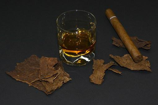 Cigar, Tobacco Leaves, Whiskey Glass, Whisky, Drink