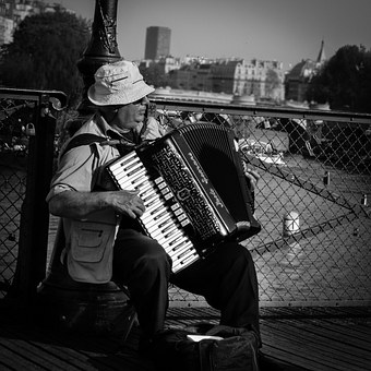 Paris, Street, Street Musician, Character, Accordion