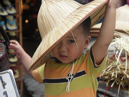Vietnam, Boy, Child, Little, Hat, Traditionat