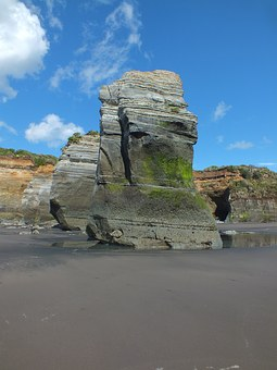 Rock, Beach, Three Sisters, New Plymouth, Coastal, Sand