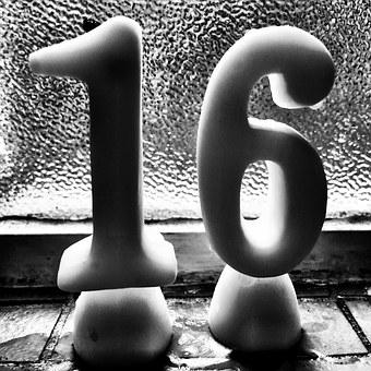 Birthday, Candles, Congratulations, Sixteen, Numeral