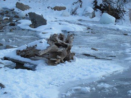 Frozen, Utah, Bridal Veil Falls, Creek, Stream, Winter
