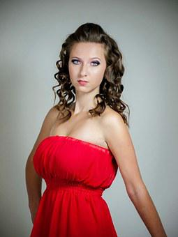 Girl, Woman, In Red Dress, Dress, Red, Curly Hair