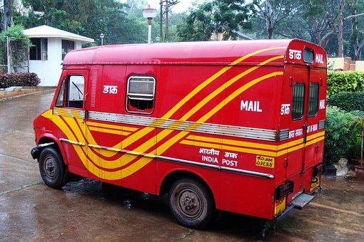 Postal Van, Red, Mail Truck, India Post, Dharwad, India