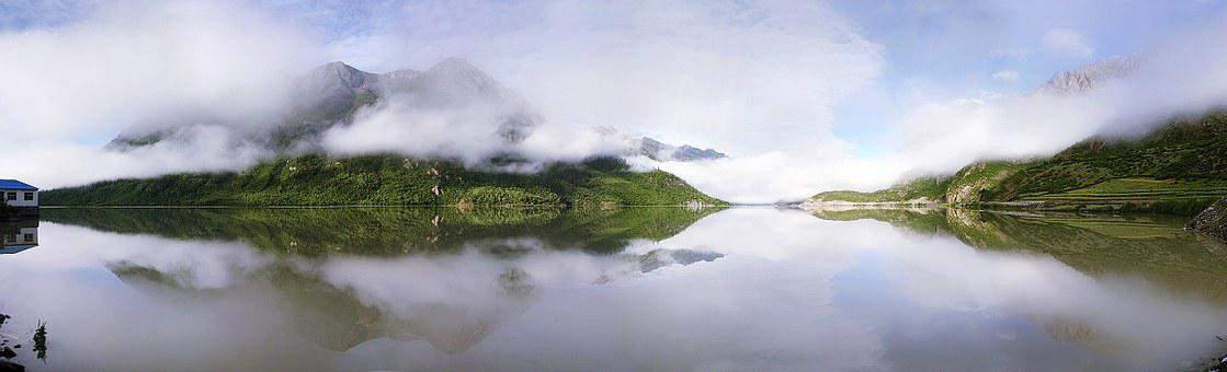 Chinese, Tibet, Wide, Scenic, Lake, Natural, Surprise