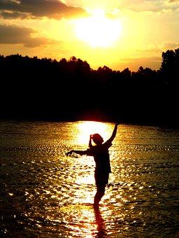 Sunset, Water, Girl, Shadow, Reflection, Sun, Twilight