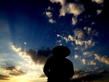 Sunset, Water, Man, Shadow, Reflection, Sun, Twilight