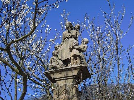 Statue, Stone Sculpture, Mother, Child, Children