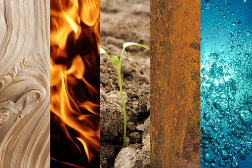 Five Elements, Wood, Fire, Earth, Metal, Water, Dawn