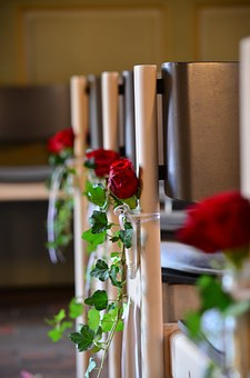 Decorated, Roses, Chairs, Wedding, Church, Flowers