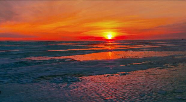 Sunset On Lake Baikal, Winter, Ice