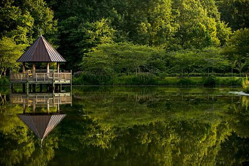 Virginia, Gazebo, Park, Water, Nature, Landscape, Green